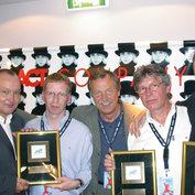 "German Jazz Award for ""Funky ABBA"": Nils Landgren, Dirk Mahlstedt, Siggi Loch, Michael Salamon und Wolfgang Haffner - ©Archiv Siggi Loch"