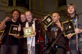 German Jazz Award für Licence To Funk - Ray Parker Jr., Wolfgang Haffner, Nils Landgren, Magnum Coltrane Price, Magnus Lindgren - ©ACT / Stefan Malzkorn