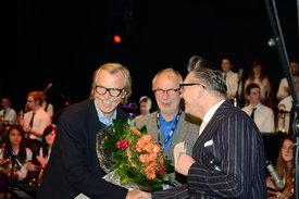 v.l.n.r. - Siggi Loch (ACT), Wolfgang Schmitz (WDR Hörfunkdirektor), Götz Alsmann (Moderator)